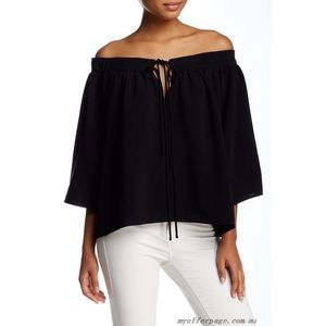 NWOT Elizabeth & James Black Chiffon OTS Top